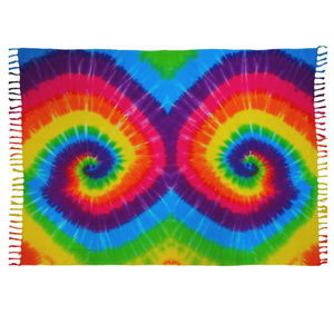 Spiral Tie-Dye Sarong with Fringe